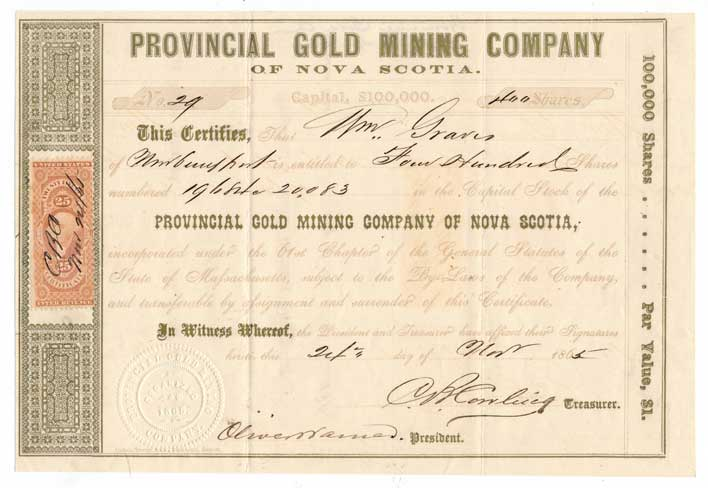 R44c On Provincial Gold Mining Co Stock Certificate Match And